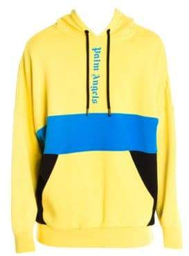 Palm Angels Men's Colorblock Logo Over Hoodie - Yellow - Size XXL