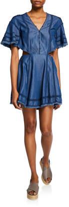 Jonathan Simkhai Washed Denim Cutout Flare Dress