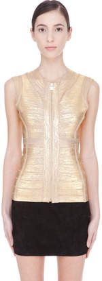 Herve Leger Gold distressed Zipper Tank top