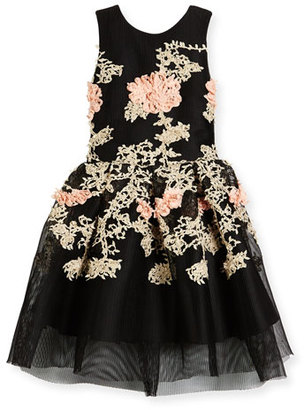 Zoe Mila Sleeveless Pleated Floral Mesh Dress, Black, Size 7-16 $290 thestylecure.com