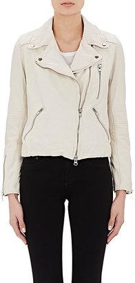 Barneys New York Women's Lambskin Moto Jacket-WHITE $795 thestylecure.com