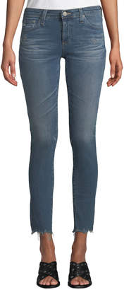AG Jeans The Legging Super Skinny Ankle Jeans w/ Chewed Hem