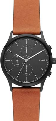 Skagen Jorn Chronograph Leather Strap Watch, 41mm