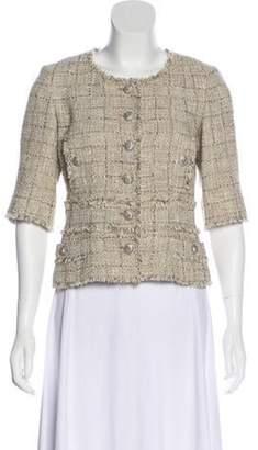 Chanel Tweed Collarless Jacket Beige Tweed Collarless Jacket