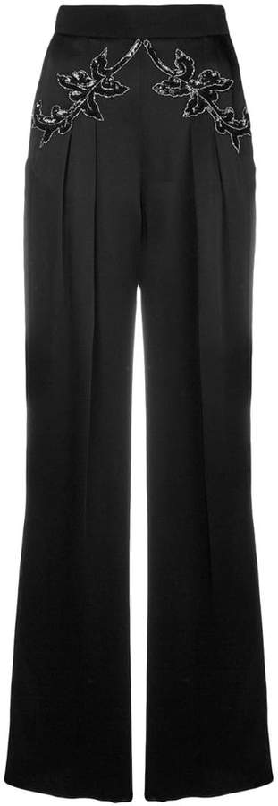 sequin flower satin trousers