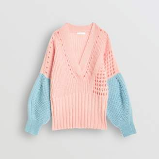 Burberry Childrens Contrast Knit Mohair Wool Blend Sweater