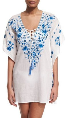 Letarte Pebble Floral-Embroidered Caftan Coverup $254 thestylecure.com