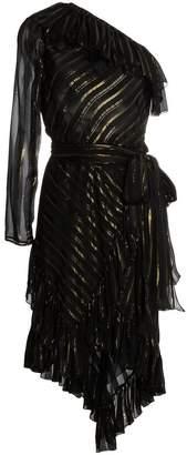 One shoulder silk blend dress