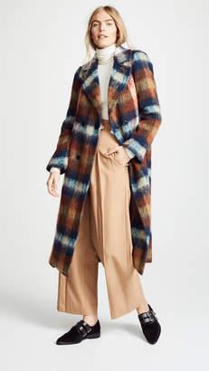 Toga Pulla Shaggy Check Long Coat