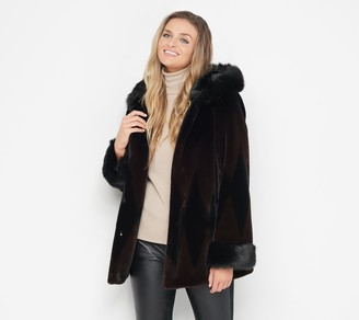 Nuage Printed Faux Fur Coat with Hood