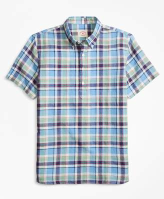 Brooks Brothers Plaid Linen-Blend Popover
