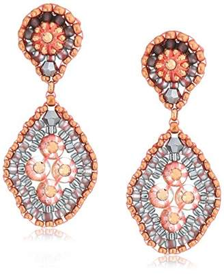 Miguel Ases Quadruple Swarovski Cluster Rounded Rhombus Contrast Post Earrings