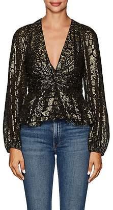 A.L.C. Women's Logan Leopard-Pattern Silk-Blend Blouse - Black
