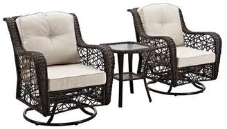 Walker Edison 3-Piece Hand-Woven Rattan Motion Chair Set With Cushions