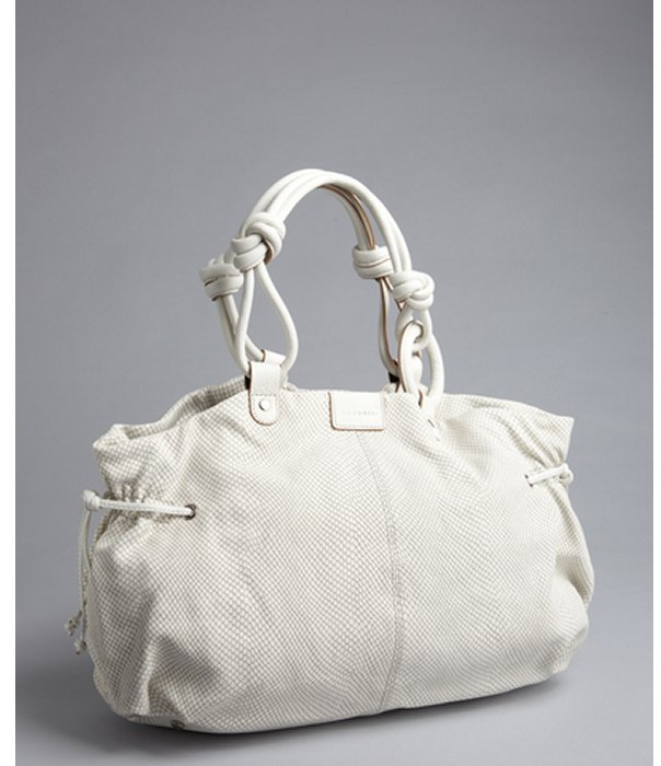 Sequoia Paris ivory python embossed leather 'Boheme' shoulder bag