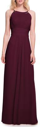 #Levkoff Low Back Pleated Chiffon Gown
