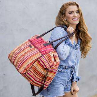 Tabitha Ashton & Willow Tomato Red Beach Handbags Weekender Cotton Antique Brass Hardware Canvas Striped Overnight Bag