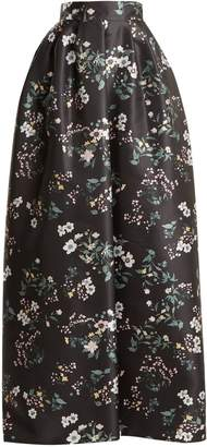 Rochas Bouquet-print duchess-satin skirt