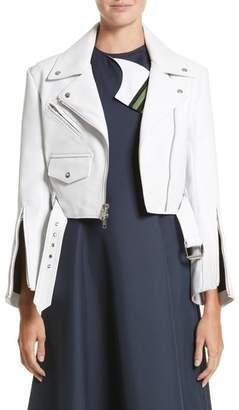 Calvin Klein Plonge Leather Crop Moto Jacket