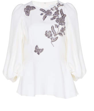Andrew Gn Peplum Butterfly Blouse