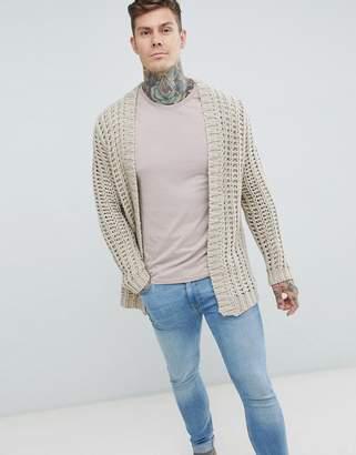 Asos Textured Cardigan In Beige