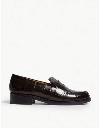 Sandro Croc-embossed leather moccasins