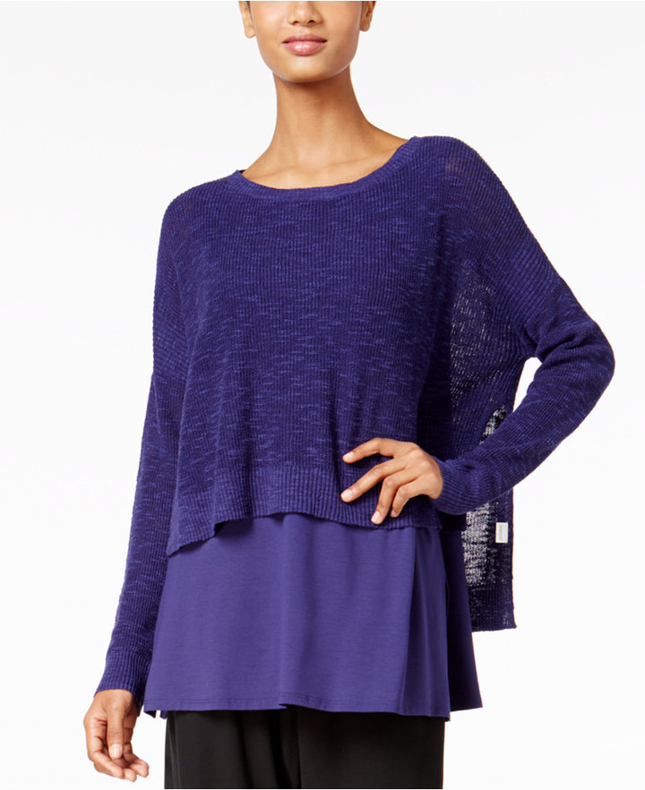 Eileen Fisher High-Low Cropped Sweater