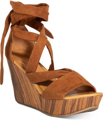 Kenneth Cole Reaction Women's Sole Rise Lace-Up Platform Wedge Sandals Women's Shoes $79 thestylecure.com