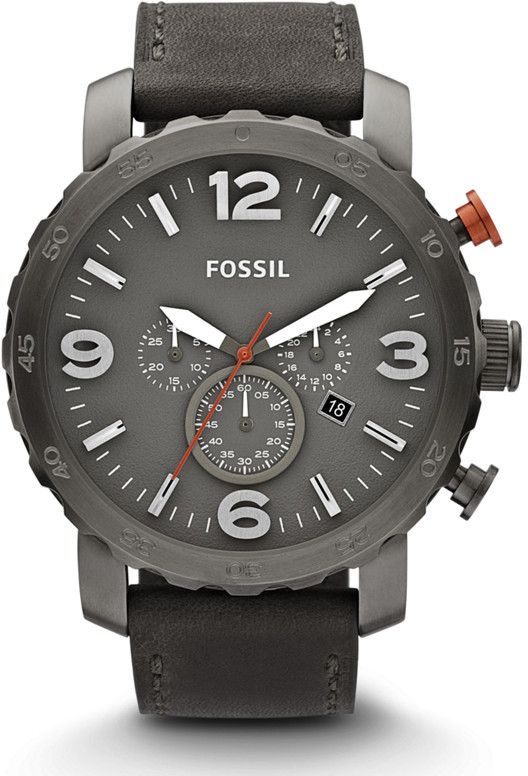 Fossil Nate Chronograph Gray Leather Watch