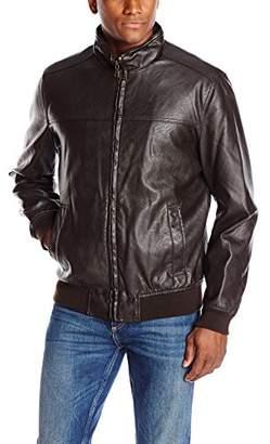 Tommy Hilfiger Men's Faux-Leather Bomber Jacket
