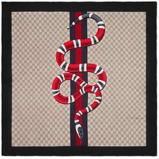Gucci Web and Kingsnake print GG silk scarf
