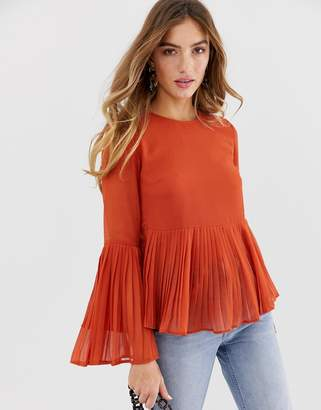 Asos DESIGN long sleeve pleated top with split sleeve detail