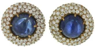 Harry Winston Yellow Gold Diamond Blue Sapphire Dome Earrings