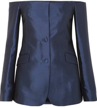 Gabriela Hearst Dorothea Off-the-shoulder Silk And Wool-blend Blazer - Navy
