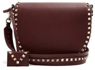 Valentino Rockstud Saddle Leather Shoulder Bag - Womens - Burgundy