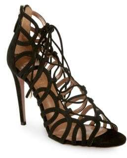 Aquazzura Ooh Lala Lace-Up Stiletto Sandals