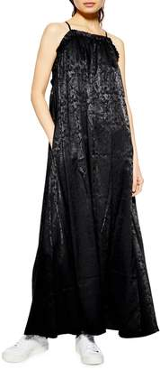 Topshop Jacquard Floral Ruched Maxi Dress