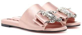 Rochas Embellished satin slides