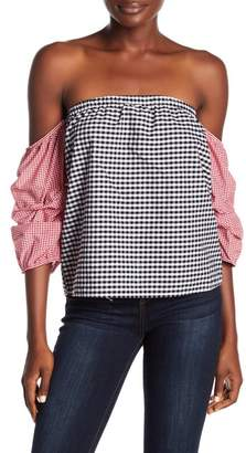 Romeo & Juliet Couture Off-the-Shoulder Gingham Top