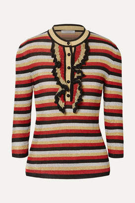Philosophy di Lorenzo Serafini Ruffled Striped Lurex Sweater - Red