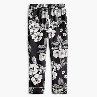 J.Crew Pull-on easy pant in floral-printed silk twill