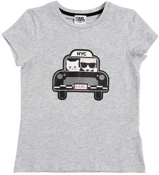 Karl Lagerfeld Nyc Cab Printed Cotton Jersey T-Shirt