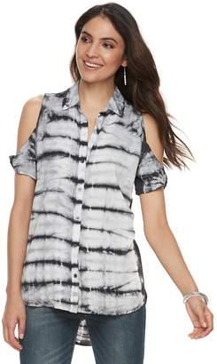 Rock & Republic Women's Twisted Sleeve Cold-Shoulder Shirt