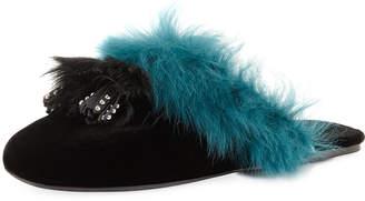 Prada Tassel Fur-Trim Mule Slide