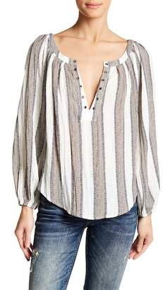 Anama Split Neck Striped Woven Blouse