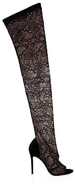 Gianvito Rossi Women's Lace Stretch Peep Toe Knee-High Boots