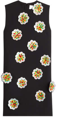 Victoria Beckham Victoria Crepe Shift Dress with Sequin Flower Applique