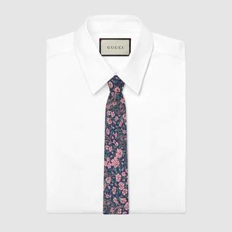 Gucci Interlocking G, flowers and paisley silk tie