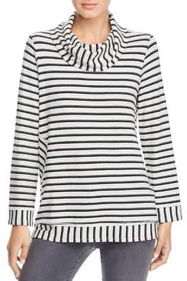 Kim & Cami Cowl Neck Stripe Tunic Top