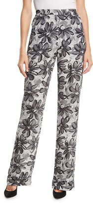 Michael Kors Daisy-Print Crushed Georgette Pajama Pants